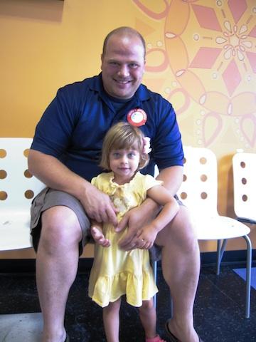 One of our students and her dad before he donated blood