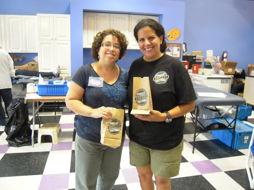 Donna Bernstein of The Messy Artist with Jen Rosenblatt of Philly Pretzel Company of Livingston