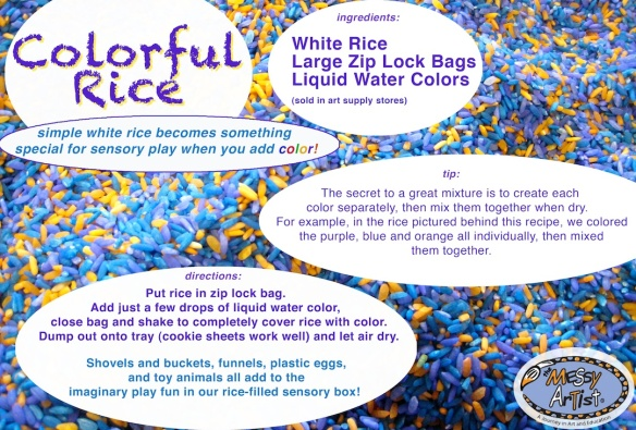 colored rice art class nj sensory play