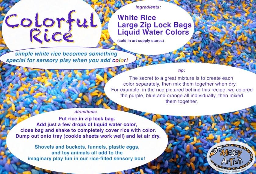colored rice art class nj sensory play