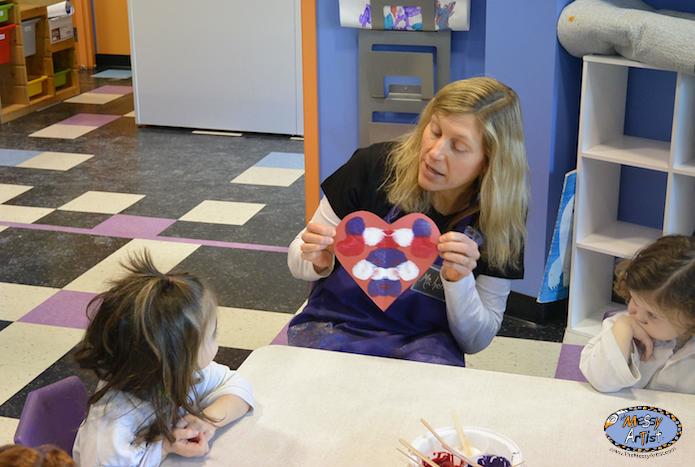 NJ fine art class kids heart project