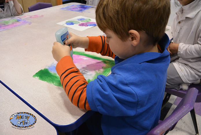 the messy artist watercolor glue salt project