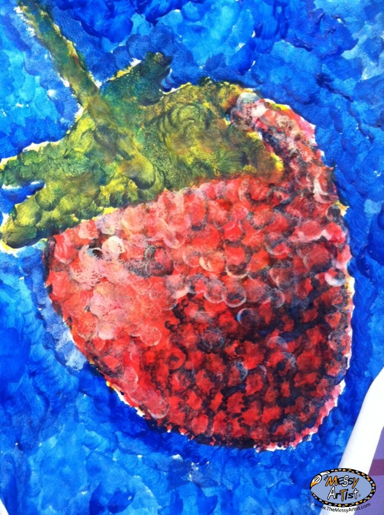 strawberry pointillism childrens art