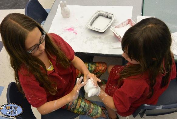 plaster hand casting for kids