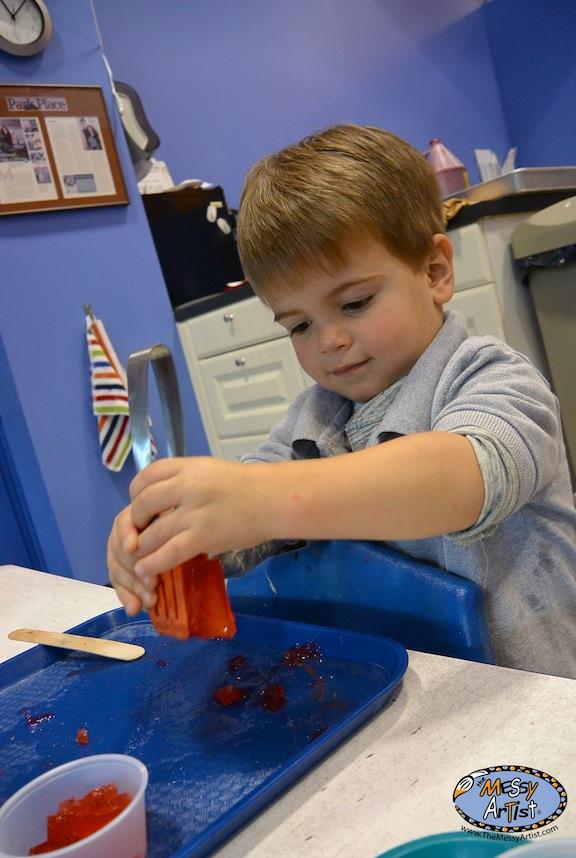 tongs as art tool for kids