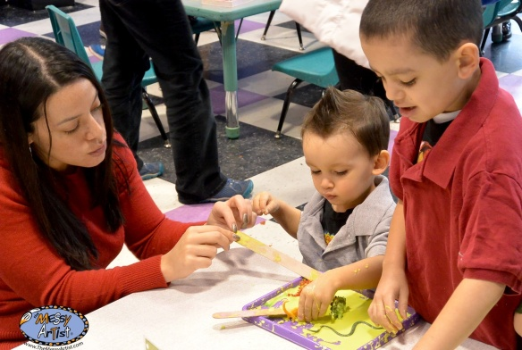 Ms. Vicente at The Messy Artist with her sons