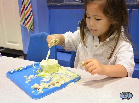 sensory play with shaving cream