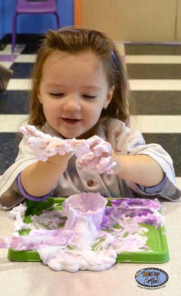 The Messy Artist shaving cream sensory play