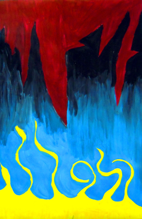 """""""Feelings War"""" a painting by student Charley. """"The red is angry, the black is unhappy/darkness, the blue is joy and the yellow is happiness. The angry colors are rough and sharp and the yellow is smooth and pleasant."""""""